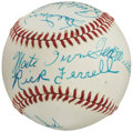 Autographs:Baseballs, Circa 1990 Hall of Famers Multi-Signed baseball from The Enos Slaughter Collection....