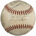 """Autographs:Baseballs, 1945 World War II """"Marianas League"""" Team Signed Baseball from TheEnos Slaughter Collection...."""