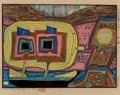 Prints & Multiples:Print, Friedensreich Hundertwasser (1928-2000). Two Trees on Board of Regentag, from Midori No Namida, 1971. Woodcut in col...