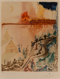Salvador Dalí (1904-1989) The Crime, The Siege of Jerusalem, and A Miserable Flat, from The Marquis de Sade, 1969...