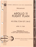 "Explorers:Space Exploration, Neil Armstrong's Copy of NASA's ""Preliminary Apollo 11 Flight Plan AS-506 / CSM-107 / LM-5"" Book Date-Stamped April 24, 1969,..."