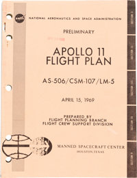 "Neil Armstrong's Copy of NASA's ""Preliminary Apollo 11 Flight Plan AS-506 / CSM-107 / LM-5"" Book Date-Stamped..."