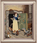Animation Art:Production Cel, Snow White and the Seven Dwarfs Production Cel and CustomPainted Background (Walt Disney, 1937). ...