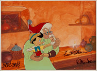 Pinocchio Geppetto and Pinocchio Signed Production Cel on Custom Painted Background (Walt Disney, 1940)