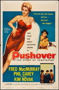"Movie Posters:Film Noir, Pushover (Columbia, 1954). Folded, Fine+. One Sheet (27"" X 41"") & Trimmed Belgian (Approx. 14.5"" X 18.5""). Film Noir.. ... (Total: 2 Items)"