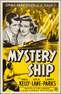 "Movie Posters:Drama, Mystery Ship (Columbia, 1941). Folded, Fine+. One Sheet (27"" X41""). Drama.. ..."