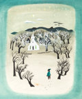 "Animation Art:Concept Art, Mary Blair So Dear to My Heart ""Christmas Eve"" ConceptPainting (Walt Disney, 1949)...."