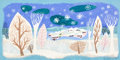 "Animation Art:Concept Art, Mary Blair Melody Time ""Once Upon a Wintertime""Concept/Color Key Painting (Walt Disney, 1948)...."