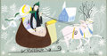 "Animation Art:Concept Art, Mary Blair Melody Time ""Once Upon a Wintertime"" ConceptPainting (Walt Disney, 1948)...."
