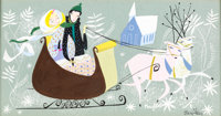 """Mary Blair Melody Time """"Once Upon a Wintertime"""" Concept Painting (Walt Disney, 1948)"""