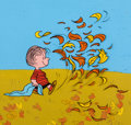 Animation Art:Production Cel, Peanuts It's the Great Pumpkin, Charlie Brown LinusProduction Cel with Master Background (B...