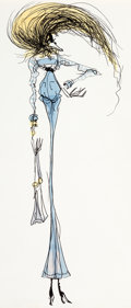 "Animation Art:Production Drawing, ""The Art of Tim Burton"" - ""Lady in Blue"" Illustration (c. 1979-80)...."