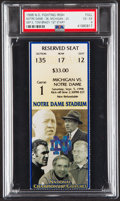 Football Collectibles:Tickets, 1998 Michigan vs. Notre Dame Full Ticket - Tom Brady's First Collegiate Start, PSA VG-EX 4 - Only One Higher....