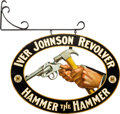 "Advertising:Signs, Iver Johnson Revolver ""Hammer the Hammer"" Metal Advertising Sign.. ..."