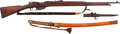 Long Guns:Bolt Action, Rare Captured Japanese Used Geweer M. 95 (Dutch Mannlicher)Bolt Action Rifle, Leather Sling and Bayonet With Army... (Total: 3)