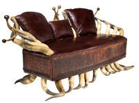An American Longhorn Steer Horn and Leather Sofa, late 19th-early 20th century 35-1/2 x 68 x 36 inches (90.2 x 172