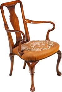 A Queen Anne-Style Walnut Armchair with Needlepoint Upholstery, late 19th-early 20th century 35-1/2 x 23-1/2 x 24