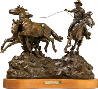 Grant Speed (American, 1930-2011) Running Wild horses, 1983 Bronze with brown patina 16 inches (40.6 cm) high on a 1-