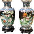 Furniture, A Pair of Large Chinese Cloisonné Enamel and Gilt Bronze Vases with Carved Wood Stands and a Pair of Carved Wood and Marble In... (Total: 2 Items)