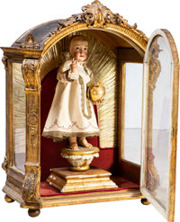 A Spanish Colonial Plaster and Gilt Wood Santos Figure in Carved Gilt Wood Vitrine, 19th century 33 x 25 x 14-1/4