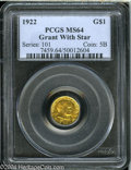 Commemorative Gold: , 1922 G$1 Grant with Star MS64 PCGS....