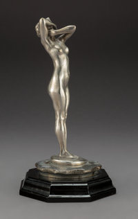 A Nickel-Plated Bronze Nude Figural Automobile Mascot on Period Radiator Cap After Théodore Rivière: L'eff...
