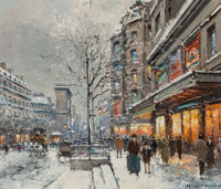 Antoine Blanchard (French, 1910-1988) Port St. Denis in Winter Oil on canvas 18 x 21 inches (45.7