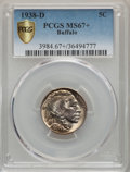Buffalo Nickels, 1938-D 5C MS67+ PCGS Gold Shield. PCGS Population: (1986/33). NGC Census: (2592/25). MS67. Mintage 7,020,000....