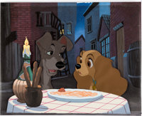 "Lady and the Tramp ""Bella Notte"" Production Cel Setup with Custom Painted Background (Walt Disney, 1955)"