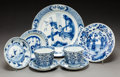 Ceramics & Porcelain:Chinese, Six Chinese Blue and White Porcelain Table Articles. Marks: (various). 3-1/8 x 4-1/2 inches (7.9 x 11.4 cm) (tallest, teacup... (Total: 8 Items)