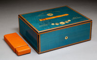 An Elie Bleu Blue Medal Sycamore Humidor with Cedar and Shagreen Travel Case in Original Fit