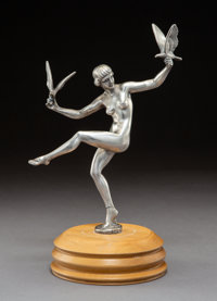 A Nickel-Plated Bronze Automobile Mascot after Max Le Verrier: Le Matin, circa 1930 Signed: