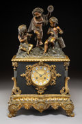 Clocks & Mechanical, A Rouilly & Hooker Patinated and Gilt Bronze Figural Mantle Clock, Paris, mid 19th-century . Marks to the mechanism: ROUIL...