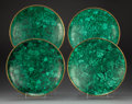 Decorative Accessories, Four Malachite and Bronze Chargers, mid-20th century. 2-1/2 x 12 x 12 inches (6.4 x 30.5 x 30.5 cm). ... (Total: 4 Items)