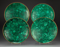 Four Malachite and Bronze Chargers, mid-20th century 2-1/2 x 12 x 12 inches (6.4 x 30.5 x 30.5 cm)