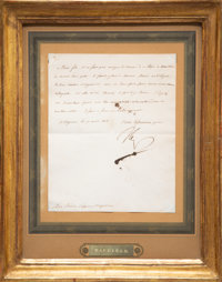 An Original Letter Signed by Napoleon Bonaparte, April 19, 1808 Signed and dated to lower left 8-7/8 x 7-1/4 in