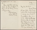Autographs:Letters, 1912 Robert Todd Lincoln Signed Handwritten Letter....