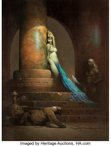 Frank Frazetta Egyptian Queen Painting Original Art (1969)....