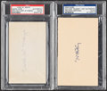 Autographs:Index Cards, Dummy Hoy & Carl Mays Signed Index Card Lot of 2, PSA/DNA Authentic....