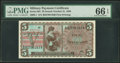 Military Payment Certificates:Series 661, Series 661 $5 PMG Gem Uncirculated 66 EPQ.. ...