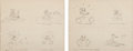 Animation Art:Concept Art, Donald Duck Gag Sketches Group of 2 (Walt Disney, c. 1940s). ...