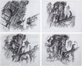 Animation Art:Concept Art, The Black Cauldron Horned King's Castle Studies by DavidJonas Group of 4 (Walt Disney, 1985).... (Total: 4 Original Art)
