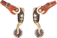 """Pair of Randy Butters """"Gal"""" Leg Spurs With Playing Card Suite Embellishments"""