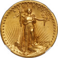 High Relief Double Eagles, 1907 $20 High Relief, Wire Rim MS64 NGC....