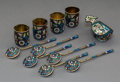 Silver & Vertu, A Group of Eleven Russian Cloisonné Enameled and Silver Table Items, late 19th-early 20th century . Marks: (various Russian ... (Total: 11 Items)