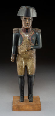 A Painted Carved Wood Napoleon Figure, late 19th-early 20th century 19 inches (48.3 cm) (overall)