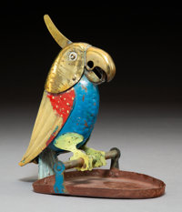 An A von Zschock Brass and Enameled and Painted Metal Parrot-Form Cigar Cutter, Berlin, early 20th century Marks: