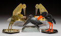 Decorative Arts, Continental, Five Metal Bird-Form Cigar Cutters, late 19th-early 20th century .Marks to brass standing bird-form cigar cutter: (bird-E...(Total: 5 Items)