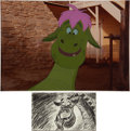 Animation Art:Production Drawing, Pete's Dragon Elliott Storyboard Drawing withProduction/Color Model Cel (Walt Disney, 1977).... (Total: 2 Items)