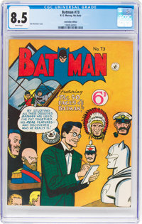 Batman #73 Australian Edition (K. Gordon Murray Productions Inc., 1956) CGC VF+ 8.5 White pages